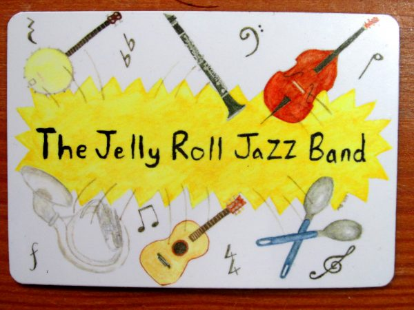 The Jelly Roll Jazz Band fridge magnet, up close.