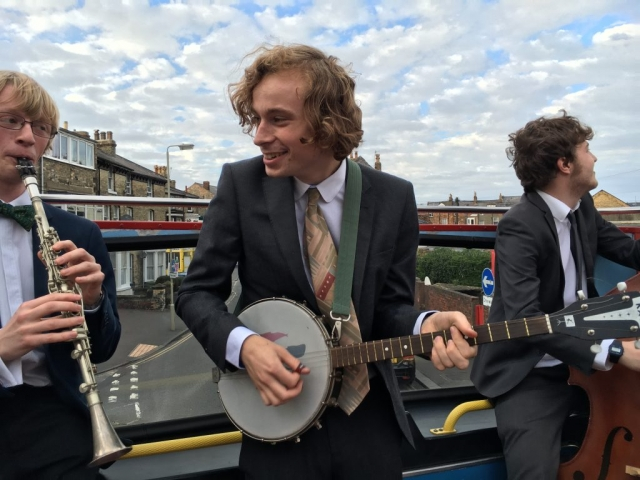 The Jelly Roll Jazz Band performing on an open top bus ride round Scarborough, September 2016