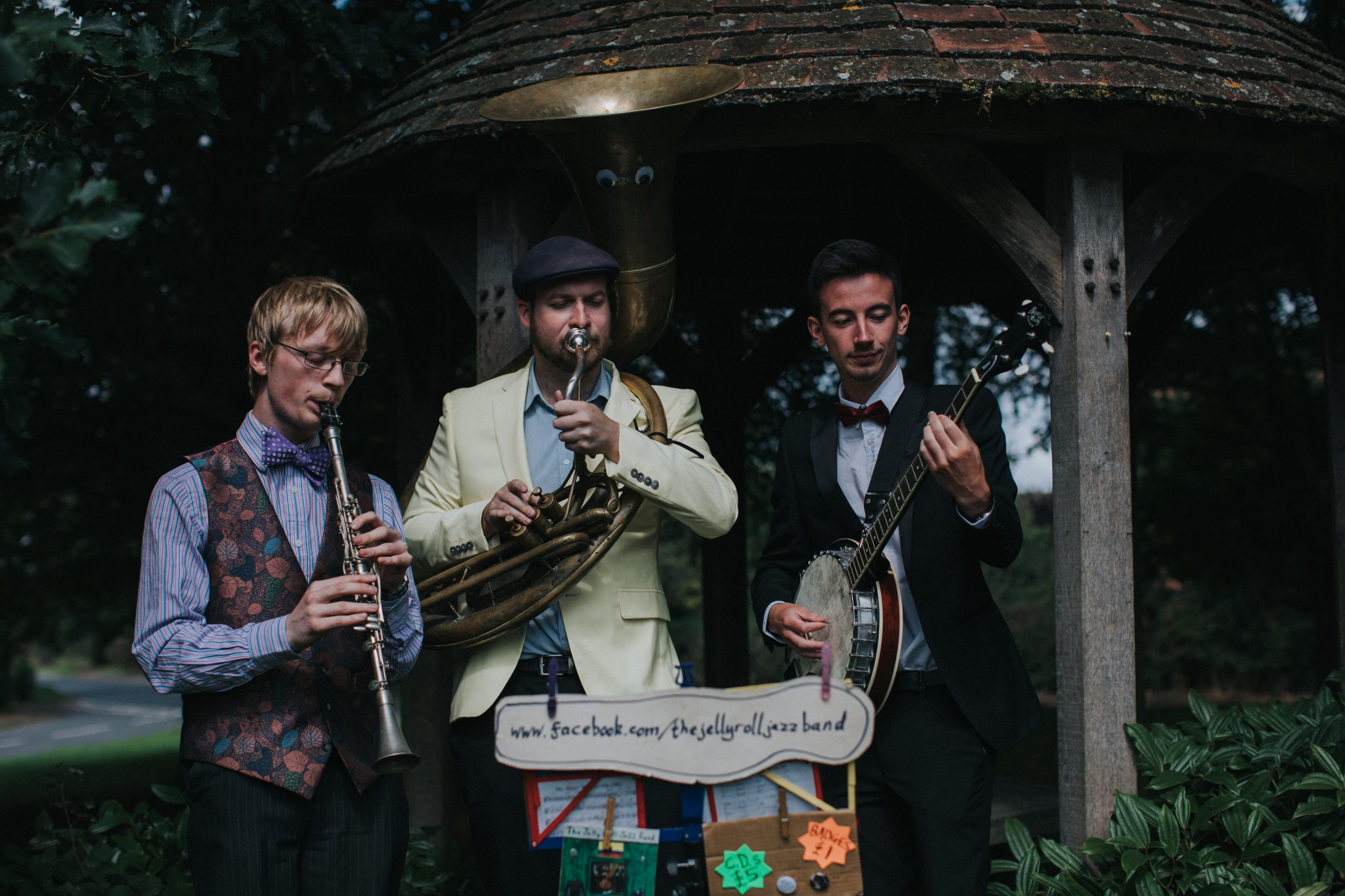 The Jelly Roll Jazz Band performing at a wedding reception in Rous Lench, August 2018
