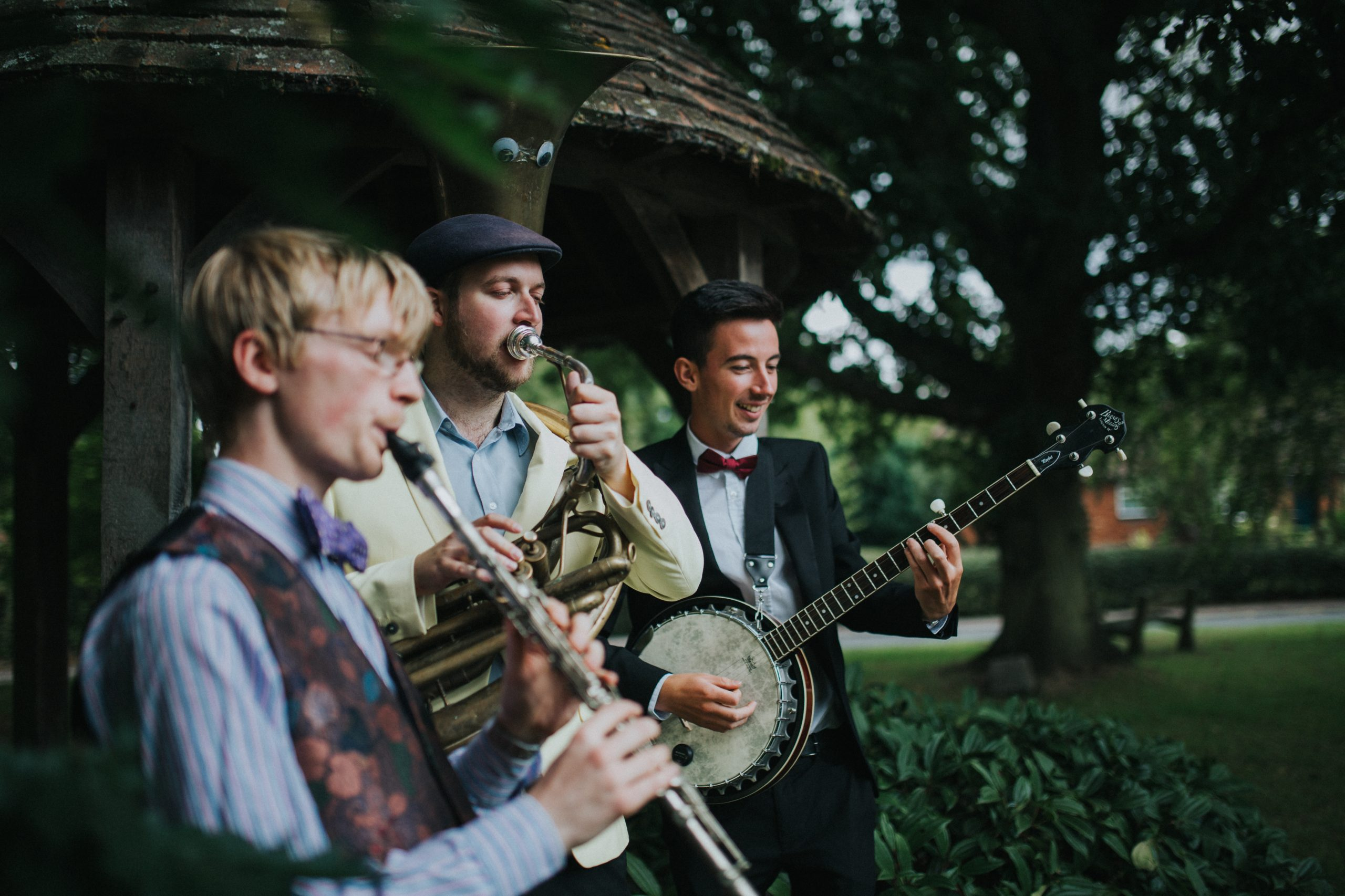 The Jelly Roll Jazz Band performing at a wedding reception in Rous Lench, August 2018 (2)