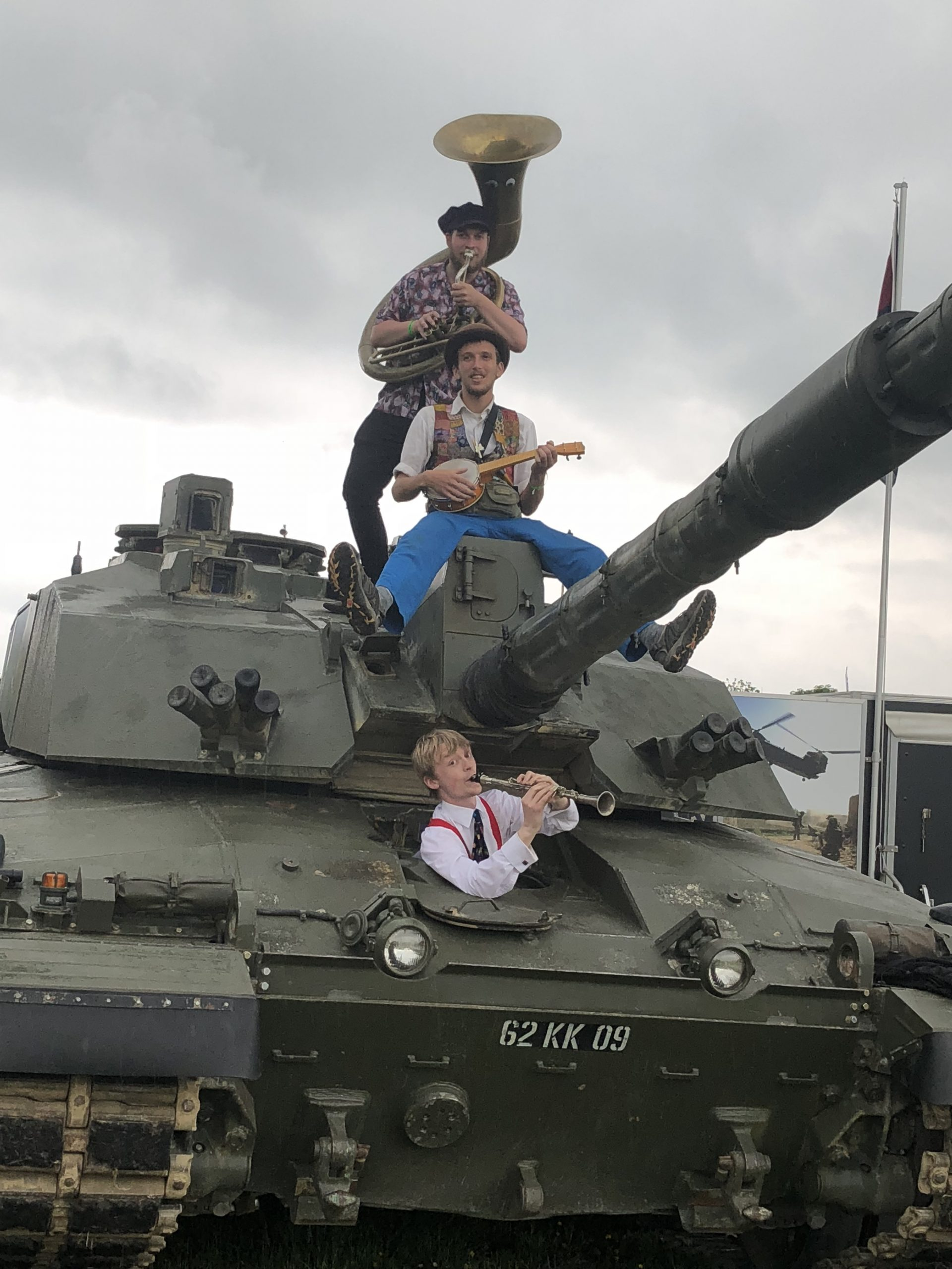 The Jelly Roll Jazz Band performing on a tank at the Royal Bath and West Show, May 2018