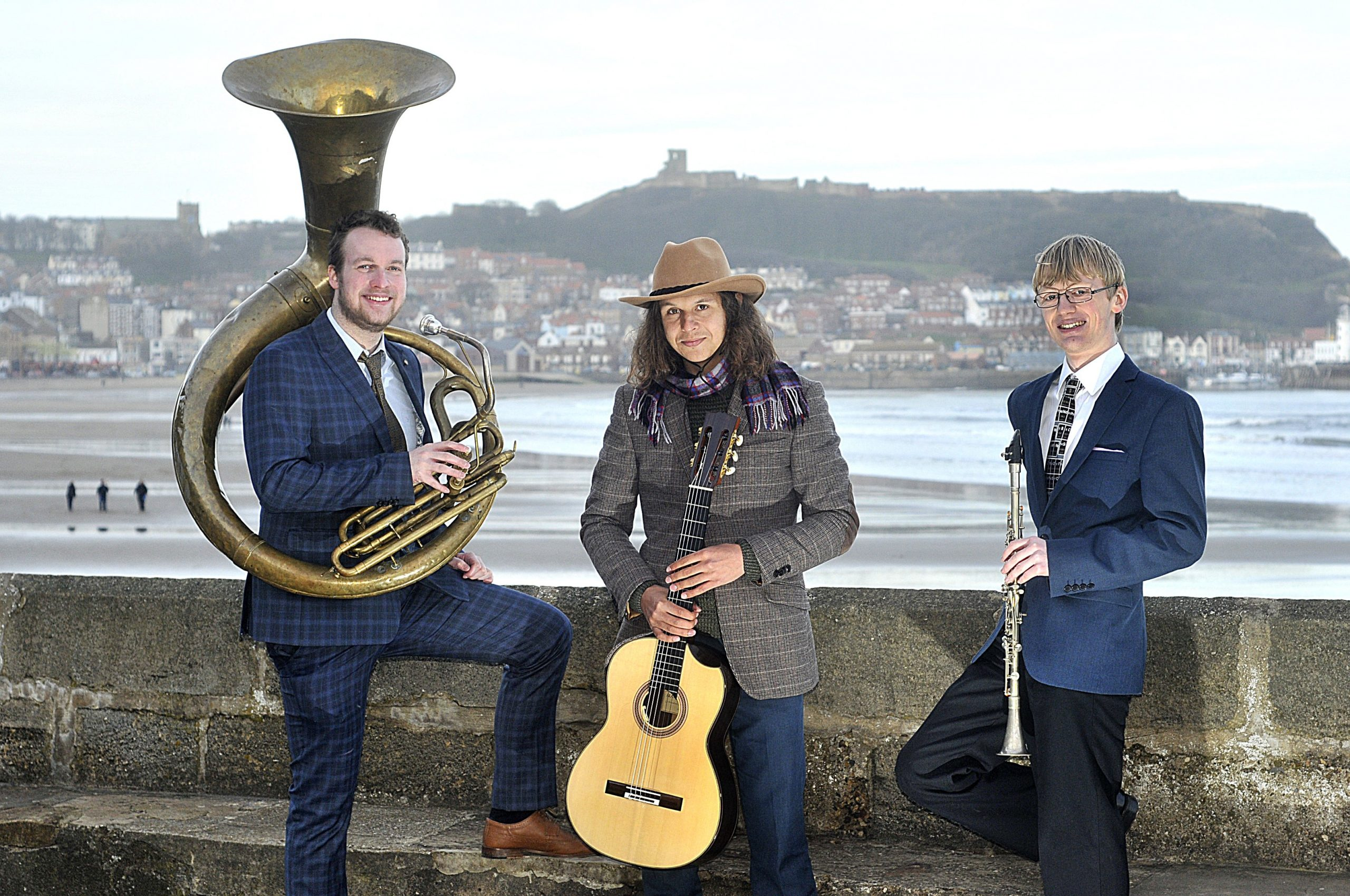 The Jelly Roll Jazz Band posing on Scarborough South Bay, June 2017