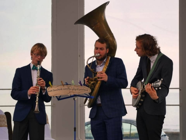 The Jelly Roll Jazz Band performing at a wedding reception at Scarborough Spa Suncourt, August 2016