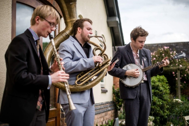 The Jelly Roll Jazz Band performing at a wedding reception in Stafford, July 2017 (2)